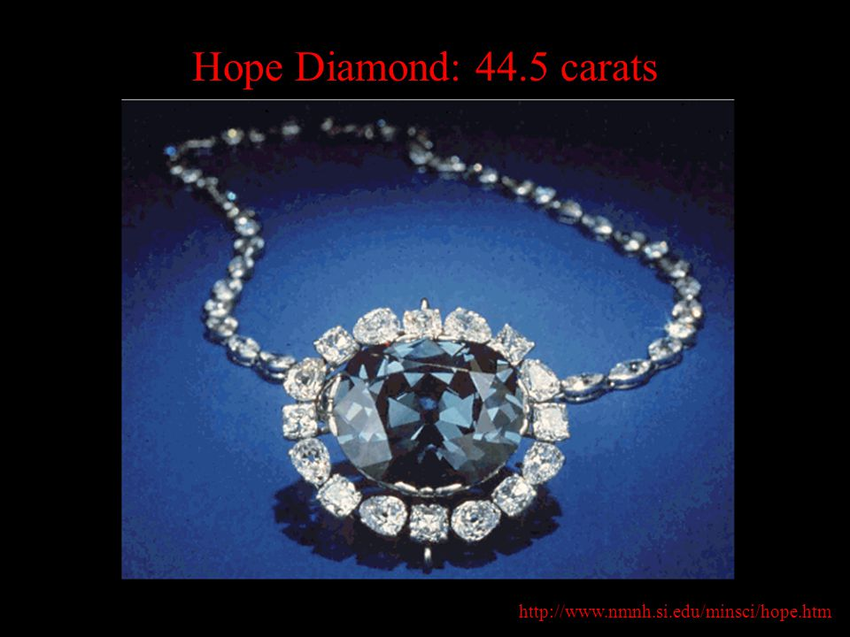Hope Diamond: 44.5 carats http://www.nmnh.si.edu/minsci/hope.htm