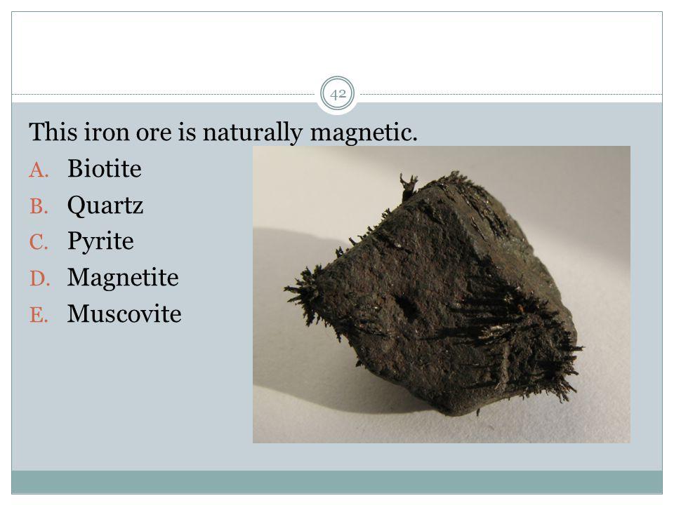 This iron ore is naturally magnetic. A. Biotite B. Quartz C. Pyrite D. Magnetite E. Muscovite 42