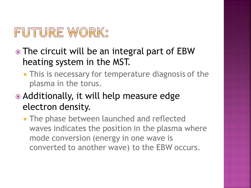  The circuit will be an integral part of EBW heating system in the MST.