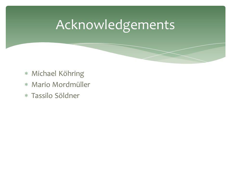  Michael Köhring  Mario Mordmüller  Tassilo Söldner Acknowledgements