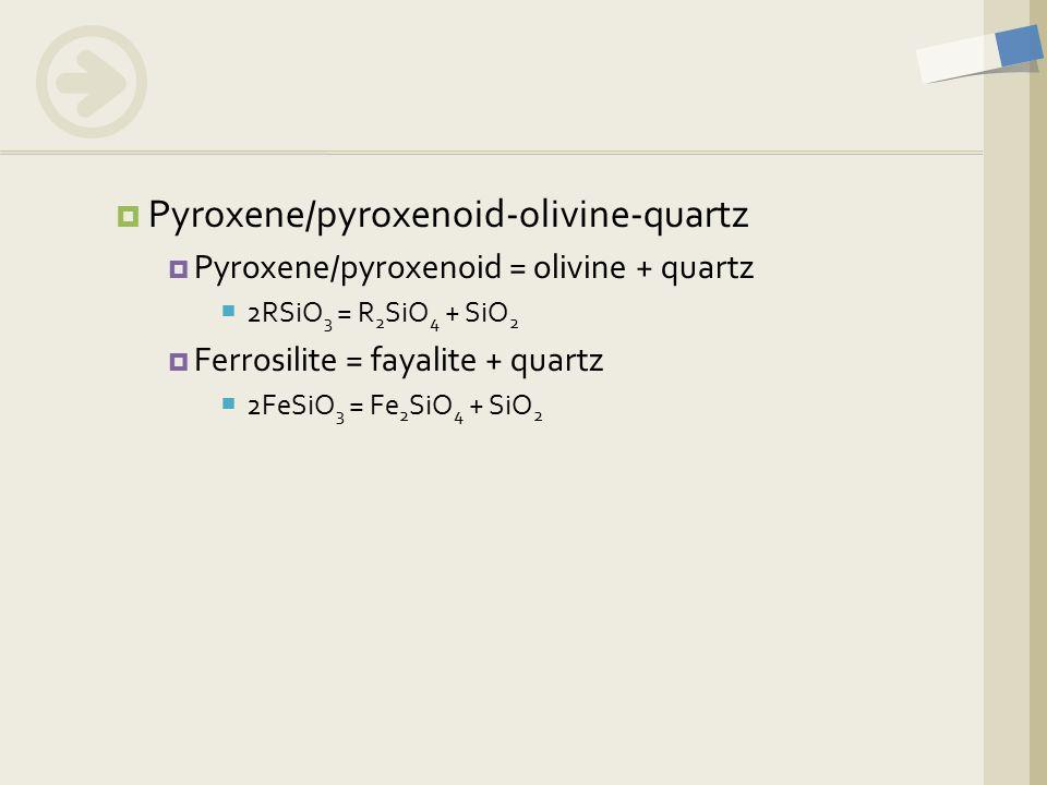  Pyroxene/pyroxenoid-olivine-quartz  Pyroxene/pyroxenoid = olivine + quartz  2RSiO 3 = R 2 SiO 4 + SiO 2  Ferrosilite = fayalite + quartz  2FeSiO 3 = Fe 2 SiO 4 + SiO 2