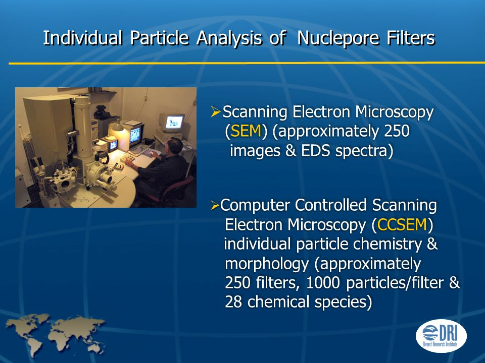Individual Particle Analysis of Nuclepore Filters Scanning Electron Microscopy  Scanning Electron Microscopy (SEM) (approximately 250 images & EDS spectra) (SEM) (approximately 250 images & EDS spectra)  Computer Controlled Scanning Electron Microscopy (CCSEM) individual particle chemistry & morphology (approximately 250 filters, 1000 particles/filter & 28 chemical species) Scanning Electron Microscopy  Scanning Electron Microscopy (SEM) (approximately 250 images & EDS spectra) (SEM) (approximately 250 images & EDS spectra)  Computer Controlled Scanning Electron Microscopy (CCSEM) individual particle chemistry & morphology (approximately 250 filters, 1000 particles/filter & 28 chemical species)