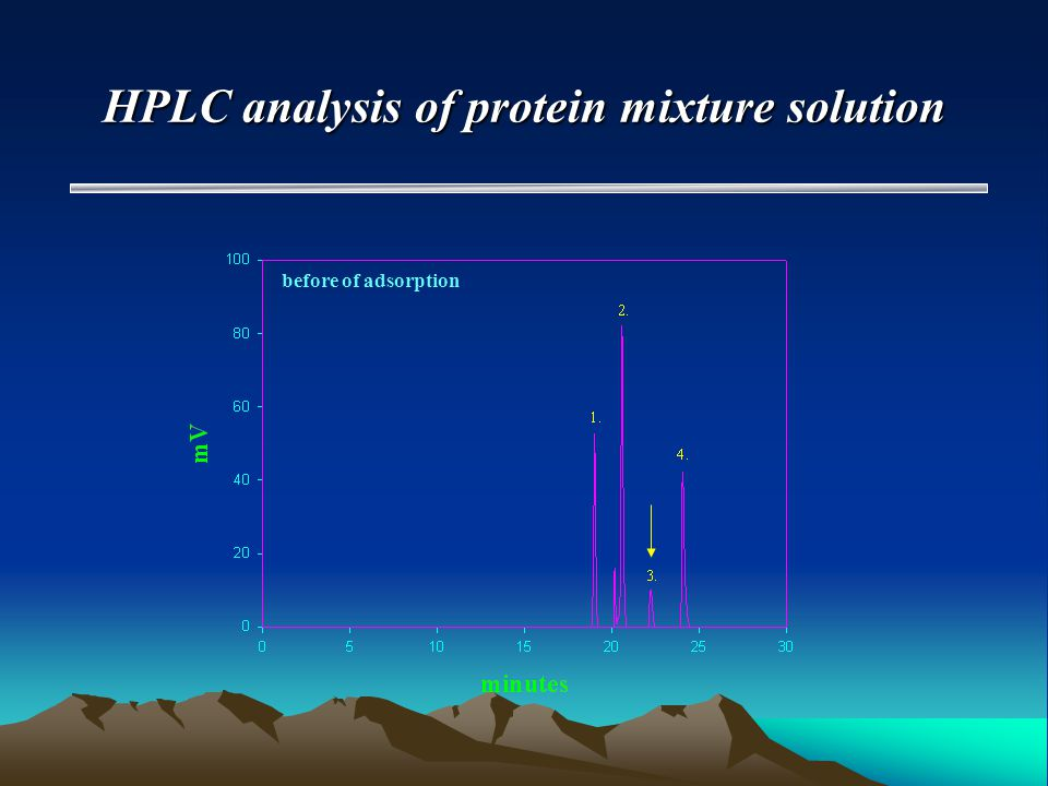 HPLC analysis of protein mixture solution before of adsorption