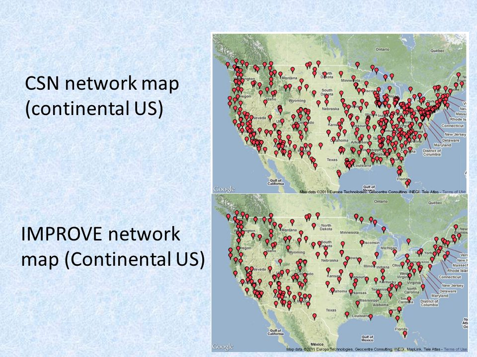 CSN network map (continental US) IMPROVE network map (Continental US)