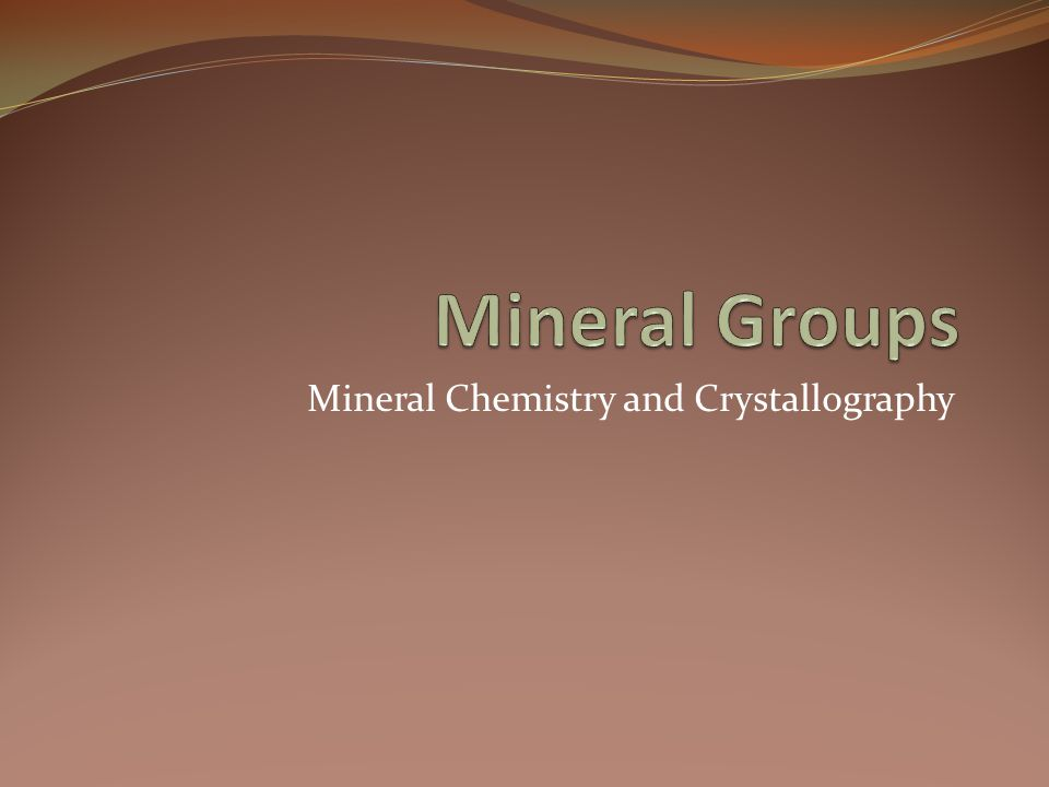 Mineral Chemistry and Crystallography