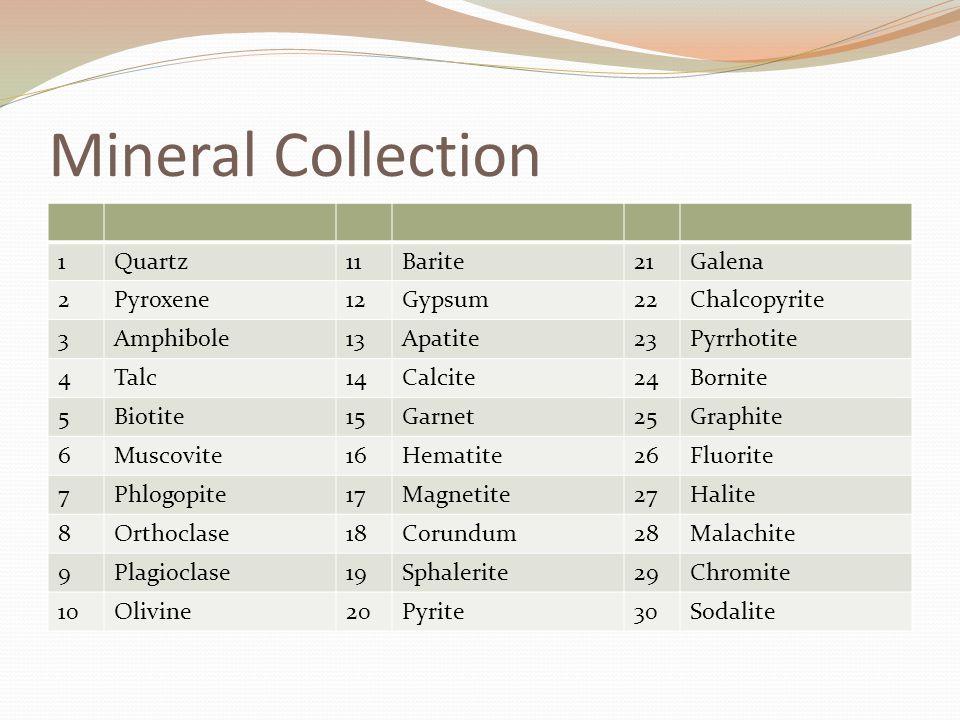 Mineral Collection 1Quartz11Barite21Galena 2Pyroxene12Gypsum22Chalcopyrite 3Amphibole13Apatite23Pyrrhotite 4Talc14Calcite24Bornite 5Biotite15Garnet25Graphite 6Muscovite16Hematite26Fluorite 7Phlogopite17Magnetite27Halite 8Orthoclase18Corundum28Malachite 9Plagioclase19Sphalerite29Chromite 10Olivine20Pyrite30Sodalite