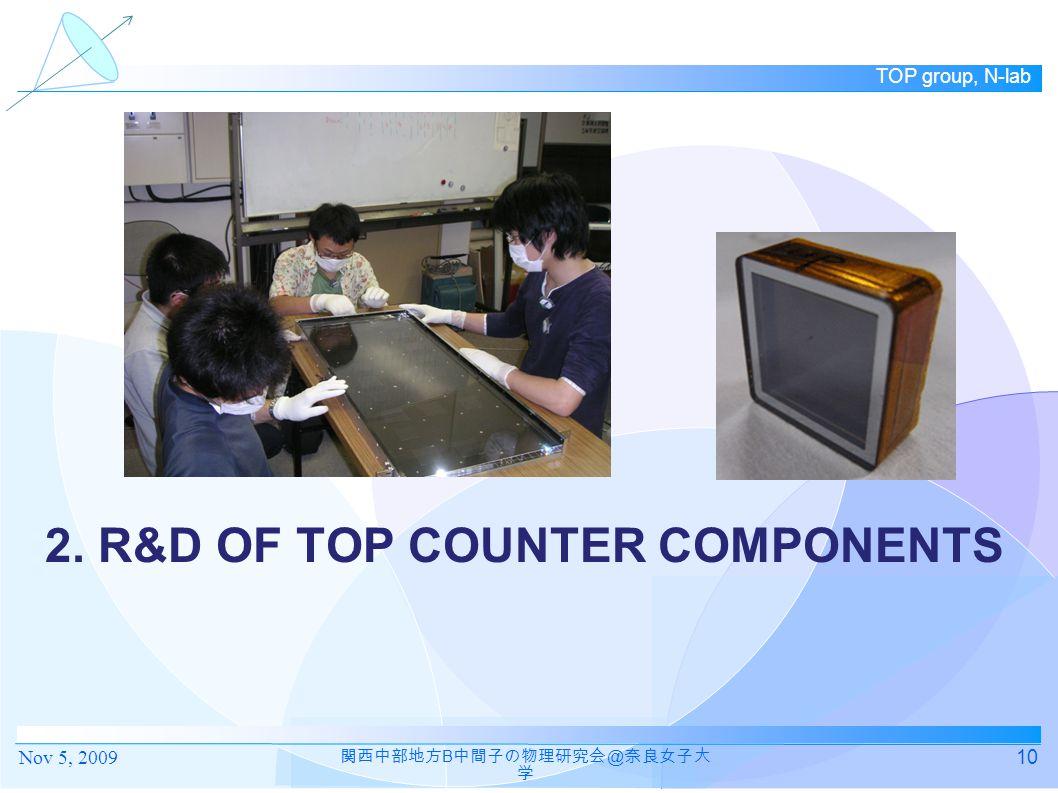 TOP group, N-lab 2. R&D OF TOP COUNTER COMPONENTS 10 関西中部地方 B 中間子の物理研究会 @ 奈良女子大 学 Nov 5, 2009