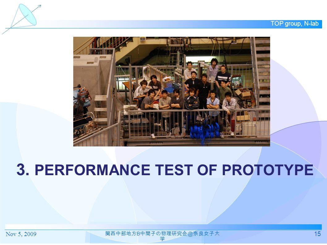 TOP group, N-lab 3. PERFORMANCE TEST OF PROTOTYPE 15 関西中部地方 B 中間子の物理研究会 @ 奈良女子大 学 Nov 5, 2009