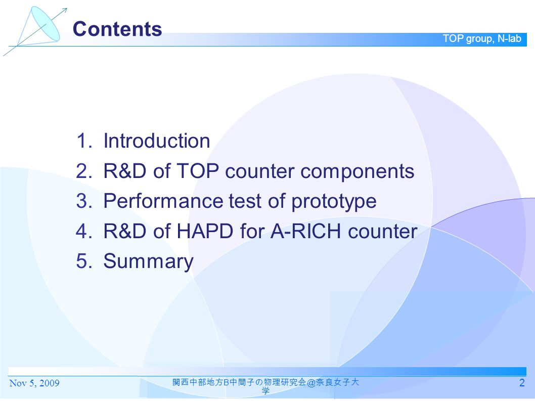 TOP group, N-lab Contents 1.Introduction 2.R&D of TOP counter components 3.Performance test of prototype 4.R&D of HAPD for A-RICH counter 5.Summary 2 関西中部地方 B 中間子の物理研究会 @ 奈良女子大 学 Nov 5, 2009