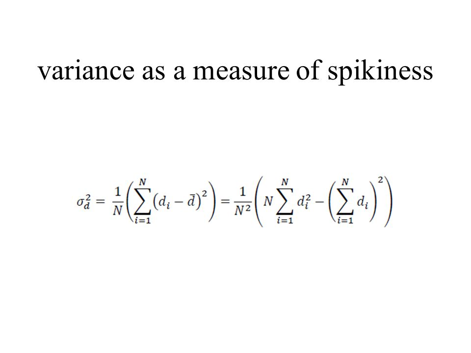 variance as a measure of spikiness