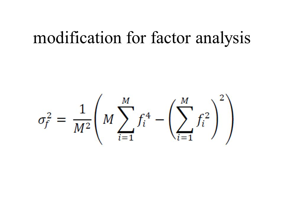 modification for factor analysis