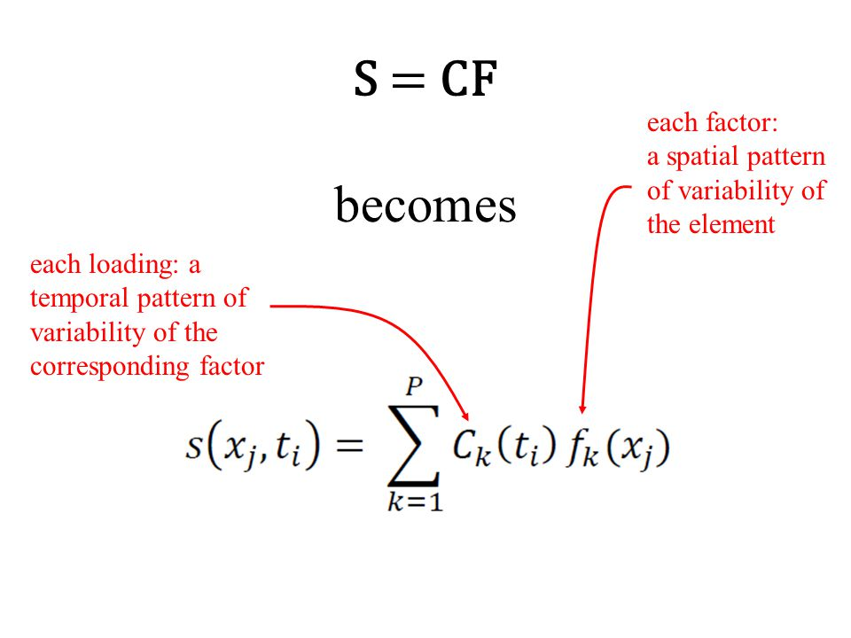 S = CF becomes each loading: a temporal pattern of variability of the corresponding factor each factor: a spatial pattern of variability of the element