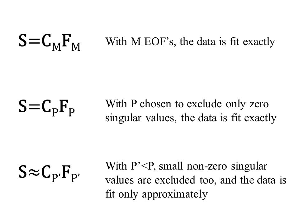 S=C M F M S=C P F P S≈C P' F P' With M EOF's, the data is fit exactly With P chosen to exclude only zero singular values, the data is fit exactly With P'<P, small non-zero singular values are excluded too, and the data is fit only approximately