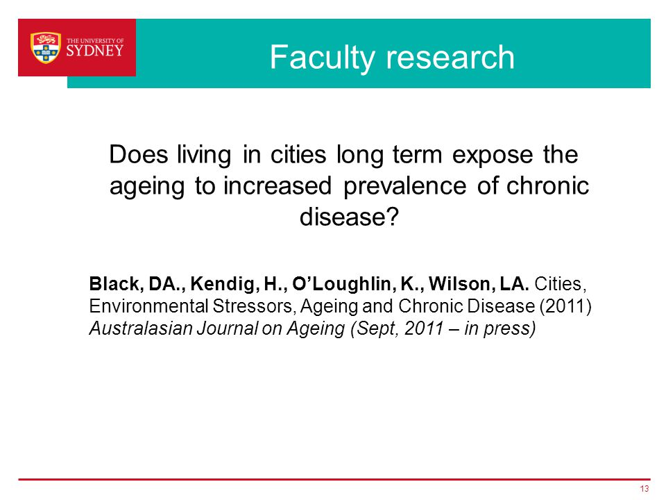 Faculty research Does living in cities long term expose the ageing to increased prevalence of chronic disease.