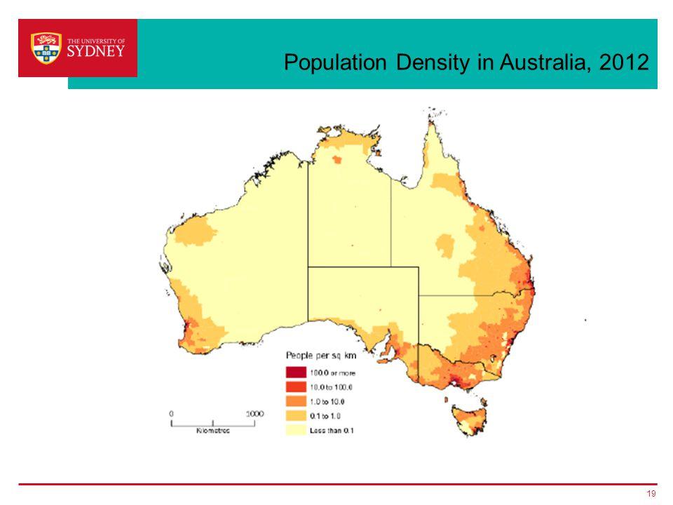 Population Density in Australia, 2012 19