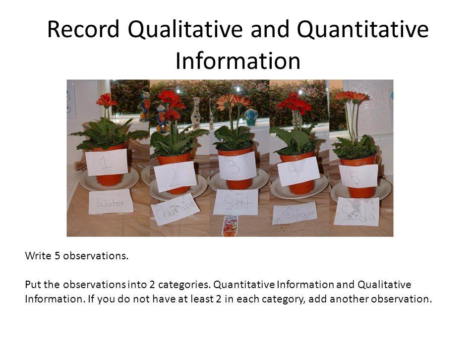 Record Qualitative and Quantitative Information Write 5 observations.