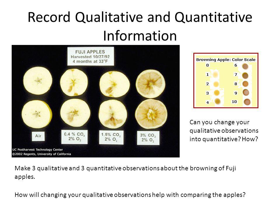 Record Qualitative and Quantitative Information Make 3 qualitative and 3 quantitative observations about the browning of Fuji apples.