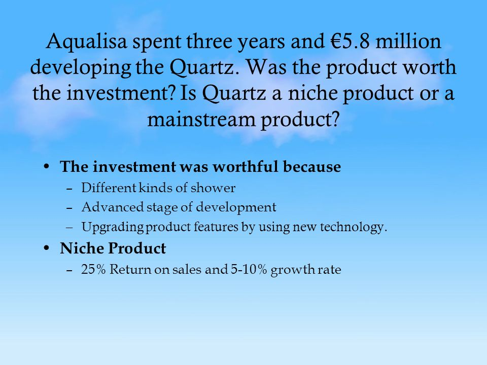 Aqualisa spent three years and €5.8 million developing the Quartz.