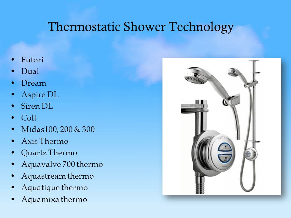 Thermostatic Shower Technology Futori Dual Dream Aspire DL Siren DL Colt Midas100, 200 & 300 Axis Thermo Quartz Thermo Aquavalve 700 thermo Aquastream thermo Aquatique thermo Aquamixa thermo