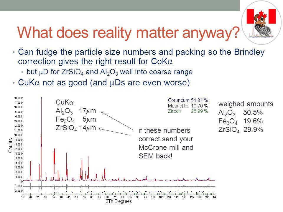 CoK  Al 2 O 3 17  m 40%PD Fe 3 O 4 5  m 40%PD ZrSiO 4 14  m 40%PD What does reality matter anyway.