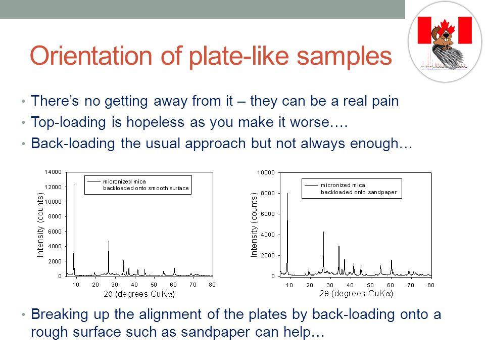 Orientation of plate-like samples There's no getting away from it – they can be a real pain Top-loading is hopeless as you make it worse….