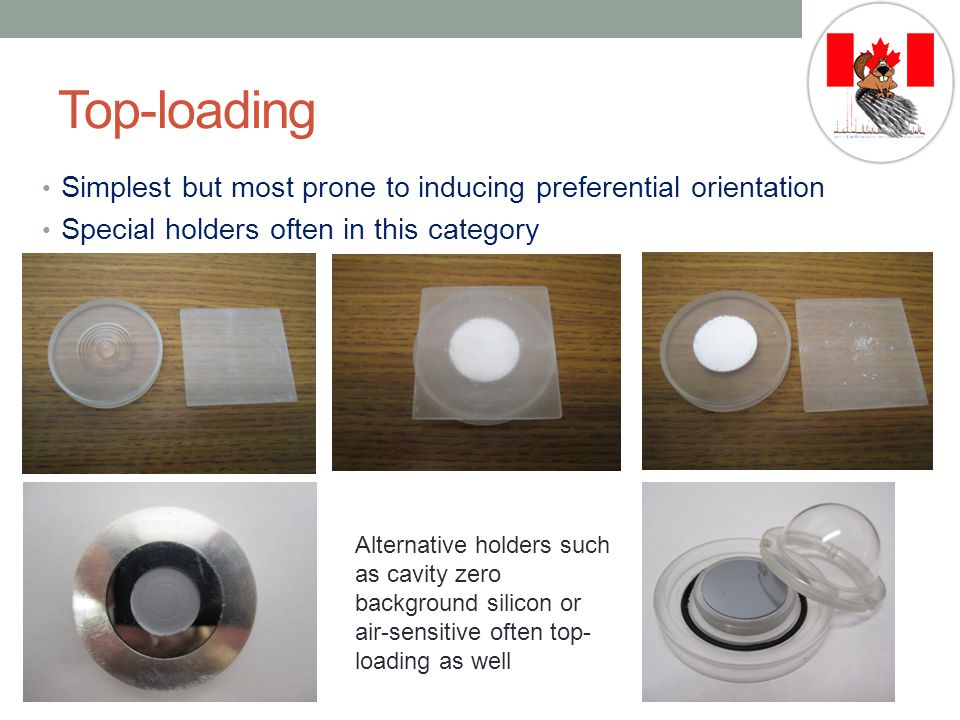 Top-loading Simplest but most prone to inducing preferential orientation Special holders often in this category Alternative holders such as cavity zero background silicon or air-sensitive often top- loading as well