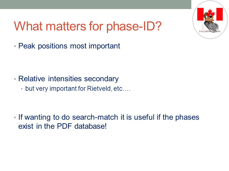 What matters for phase-ID.