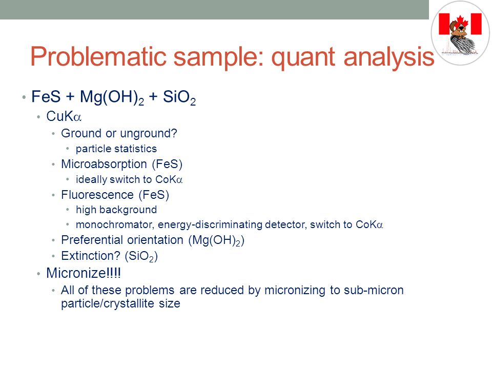 Problematic sample: quant analysis FeS + Mg(OH) 2 + SiO 2 CuK  Ground or unground.