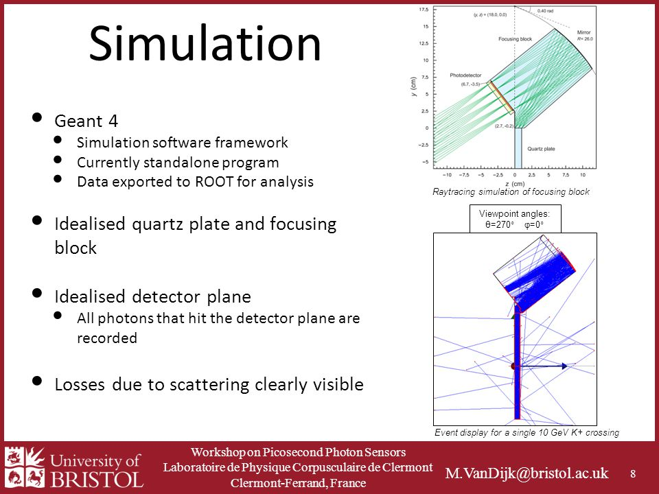 Workshop on Picosecond Photon Sensors Laboratoire de Physique Corpusculaire de Clermont Clermont-Ferrand, France M.VanDijk@bristol.ac.uk Simulation Geant 4 Simulation software framework Currently standalone program Data exported to ROOT for analysis Idealised quartz plate and focusing block Idealised detector plane All photons that hit the detector plane are recorded Losses due to scattering clearly visible 8 Viewpoint angles: θ=270° φ=0° Event display for a single 10 GeV K+ crossing Raytracing simulation of focusing block