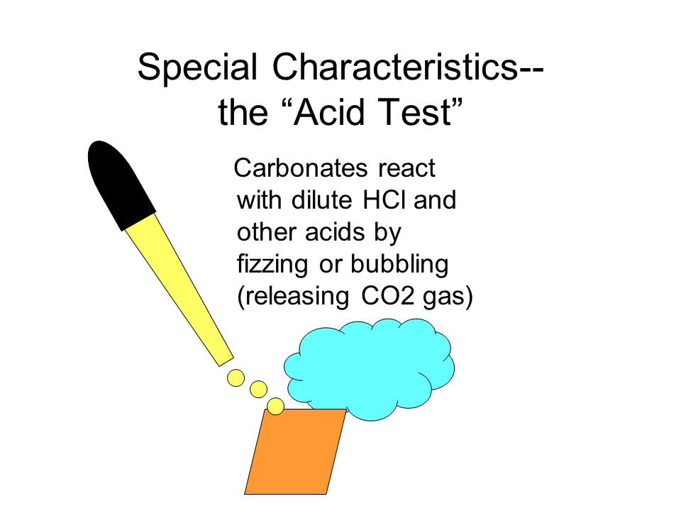 Special Characteristics-- the Acid Test Carbonates react with dilute HCl and other acids by fizzing or bubbling (releasing CO2 gas)