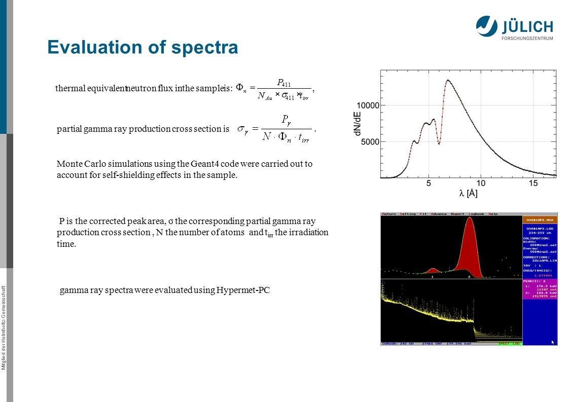 Mitglied der Helmholtz-Gemeinschaft Evaluation of spectra thermal equivalentneutron flux inthe sample is:, 411 irrAu n tN P    partial gamma ray production cross section is Monte Carlo simulations using the Geant4 code were carried out to account for self-shielding effects in the sample.
