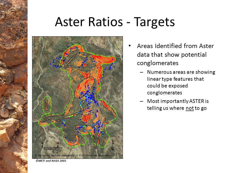Aster Ratios - Targets Areas Identified from Aster data that show potential conglomerates – Numerous areas are showing linear type features that could