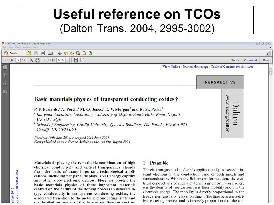 Useful reference on TCOs (Dalton Trans. 2004, 2995-3002) che-30043 lecture 522