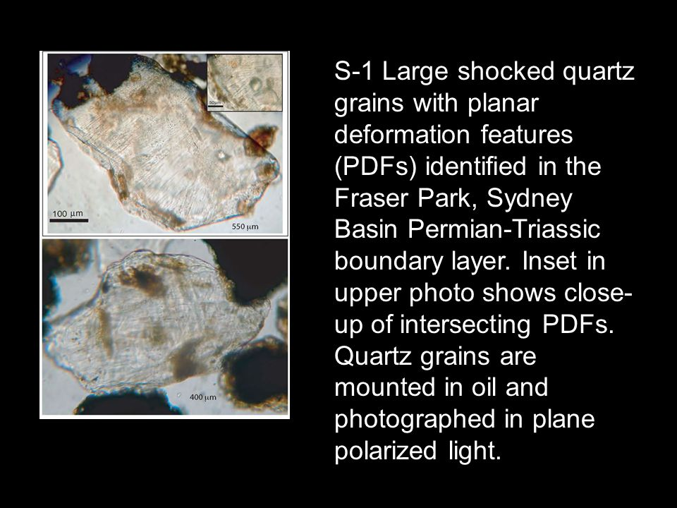 S-1 Large shocked quartz grains with planar deformation features (PDFs) identified in the Fraser Park, Sydney Basin Permian-Triassic boundary layer.