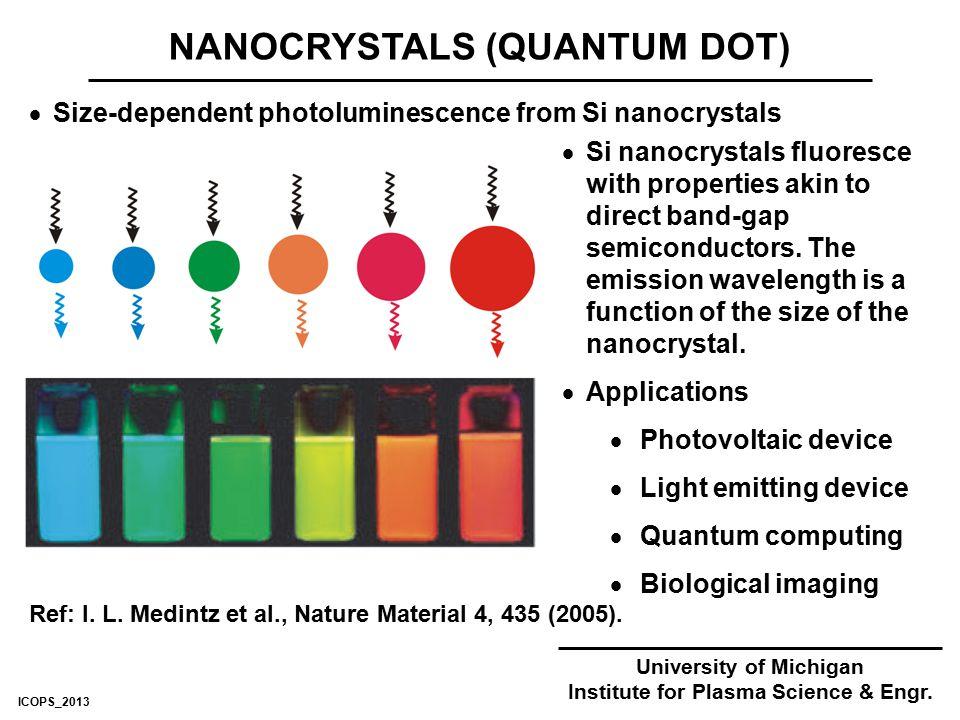 NANOCRYSTALS (QUANTUM DOT) University of Michigan Institute for Plasma Science & Engr.