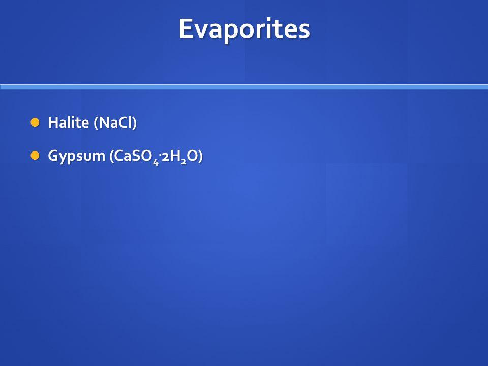 Evaporites Halite (NaCl) Halite (NaCl) Gypsum (CaSO 4. 2H 2 O) Gypsum (CaSO 4. 2H 2 O)