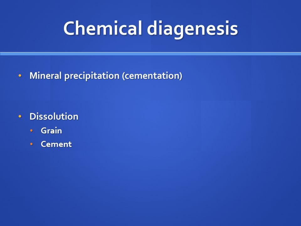Chemical diagenesis Mineral precipitation (cementation) Mineral precipitation (cementation) Dissolution Dissolution Grain Grain Cement Cement
