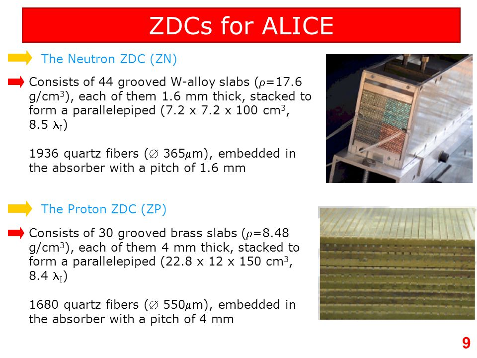 10 ZDCs readout segmentation The fibers are placed at 0° with respect to the beam line, and come out from the rear face of the calorimeter, bringing lights to the PMTs.