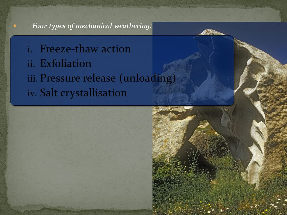 Four types of mechanical weathering: i. Freeze-thaw action ii. Exfoliation iii. Pressure release (unloading) iv. Salt crystallisation