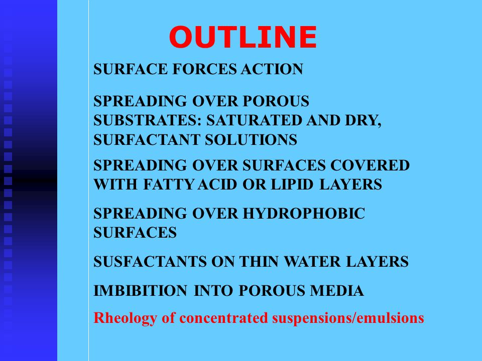 OUTLINE SURFACE FORCES ACTION SPREADING OVER SURFACES COVERED WITH FATTY ACID OR LIPID LAYERS SPREADING OVER HYDROPHOBIC SURFACES SUSFACTANTS ON THIN WATER LAYERS IMBIBITION INTO POROUS MEDIA SPREADING OVER POROUS SUBSTRATES: SATURATED AND DRY, SURFACTANT SOLUTIONS Rheology of concentrated suspensions/emulsions