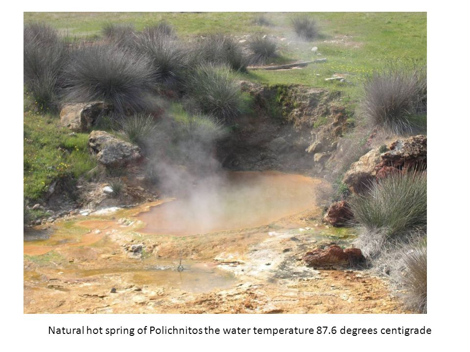 Natural hot spring of Polichnitos the water temperature 87.6 degrees centigrade