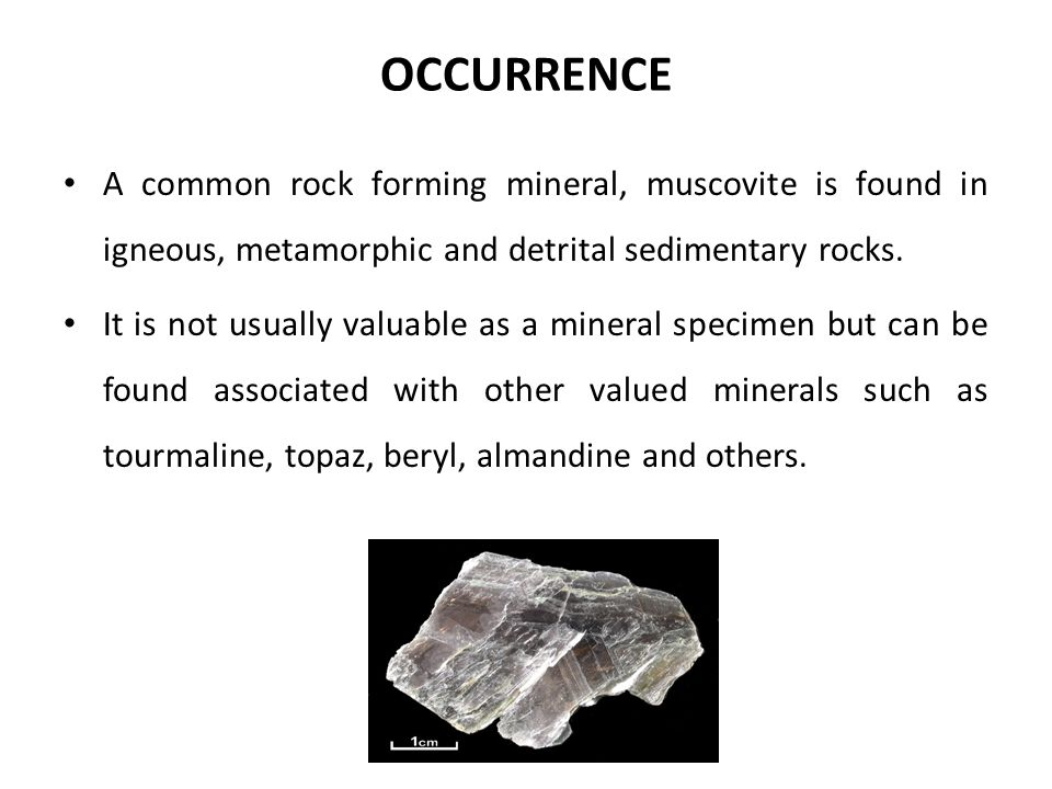 OCCURRENCE A common rock forming mineral, muscovite is found in igneous, metamorphic and detrital sedimentary rocks. It is not usually valuable as a m
