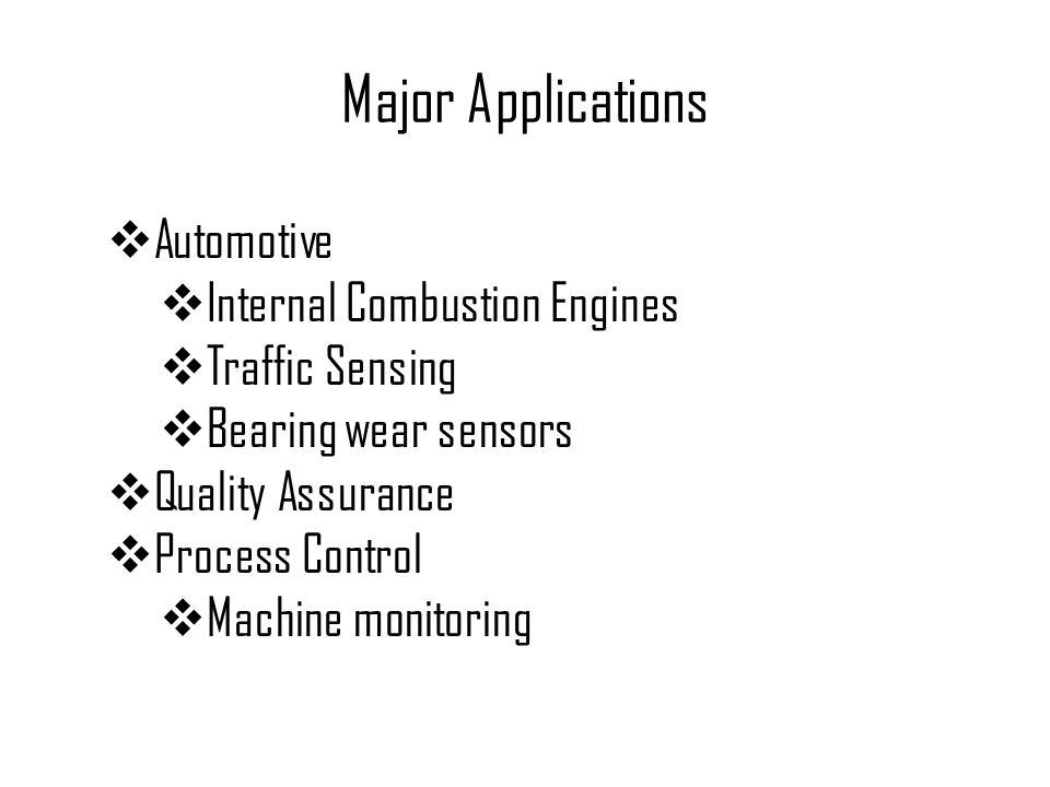 Major Applications  Automotive  Internal Combustion Engines  Traffic Sensing  Bearing wear sensors  Quality Assurance  Process Control  Machine