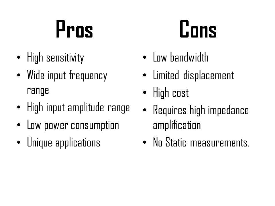 Pros High sensitivity Wide input frequency range High input amplitude range Low power consumption Unique applications Cons Low bandwidth Limited displ