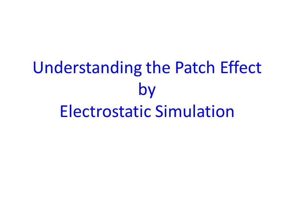 Electrostatic simulation with COMSOL software package Plate size = 32×32  m; Patch size = 0.6×0.6  m; V plate =0.018 mV, V sphere =0, V patches =random in [-90;90] mV,  ~0.7 mV.