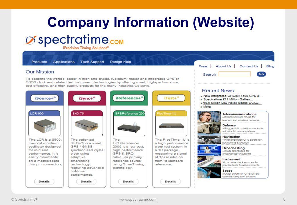 8 © Spectratime ® www.spectratime.com 8 Company Information (Website).COM
