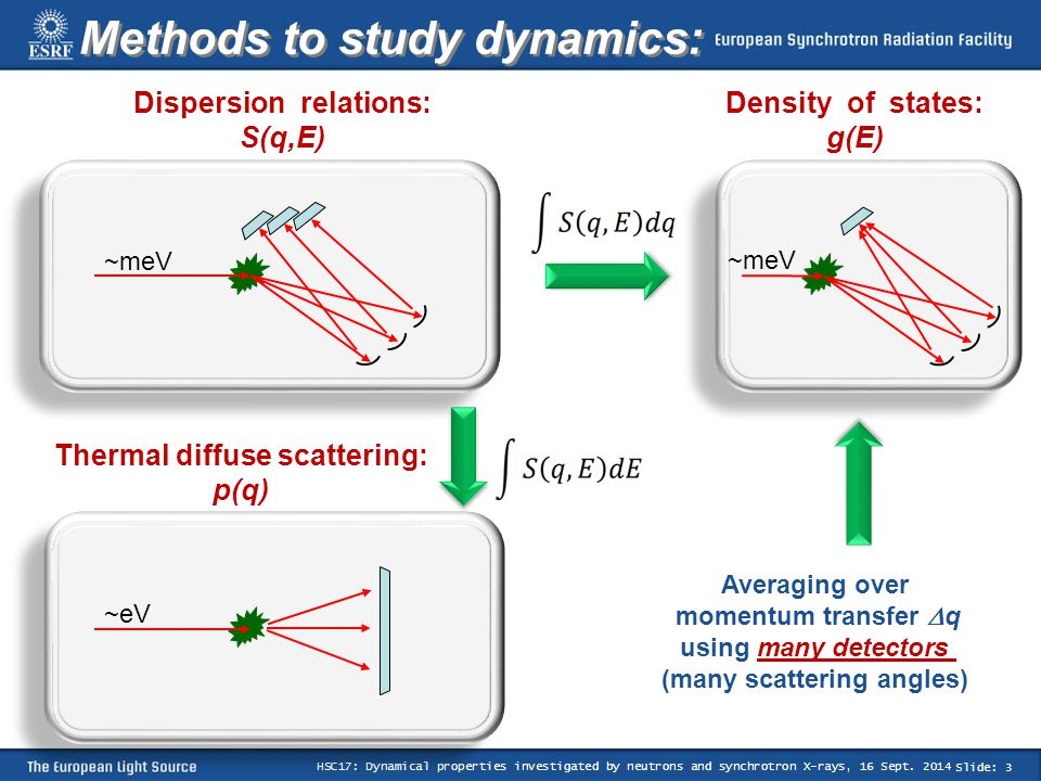 Slide: 3 HSC17: Dynamical properties investigated by neutrons and synchrotron X-rays, 16 Sept.