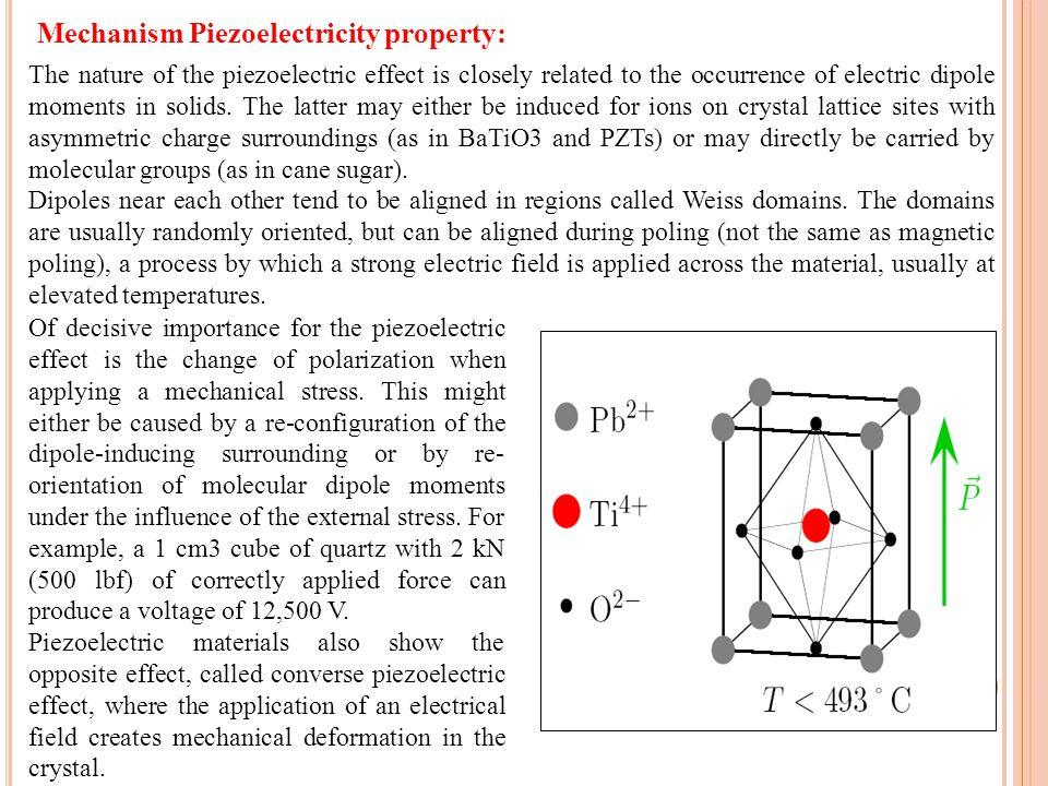 5 The nature of the piezoelectric effect is closely related to the occurrence of electric dipole moments in solids.