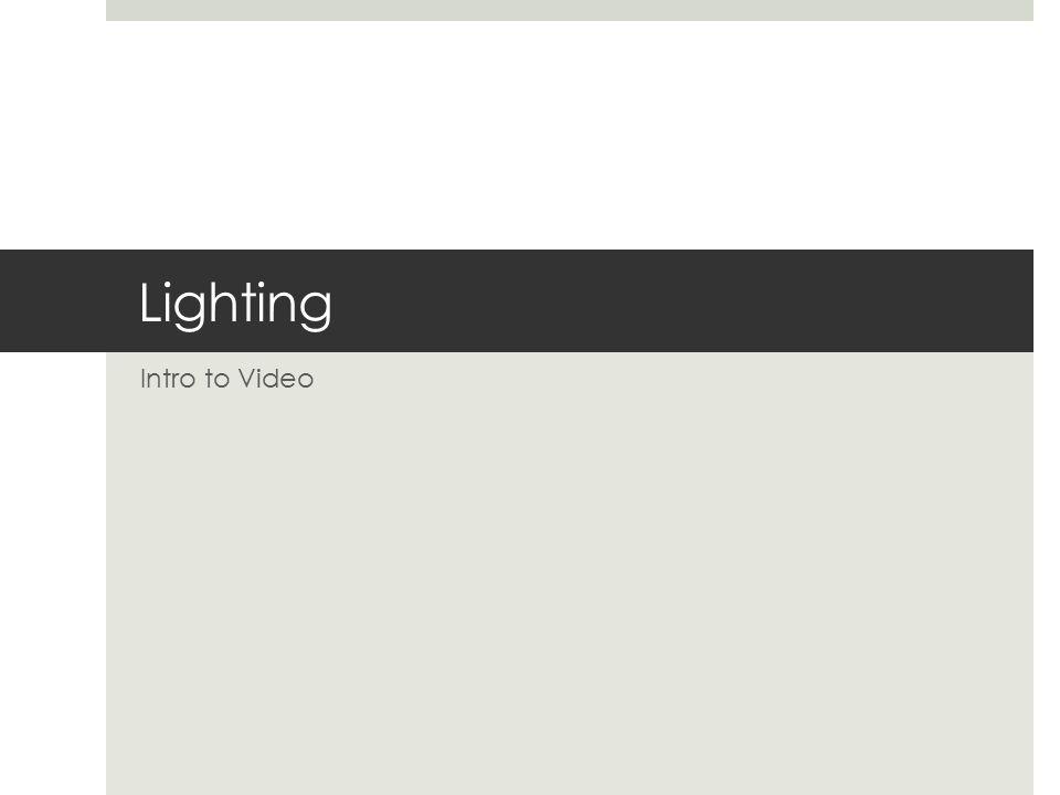 Lighting Intro to Video