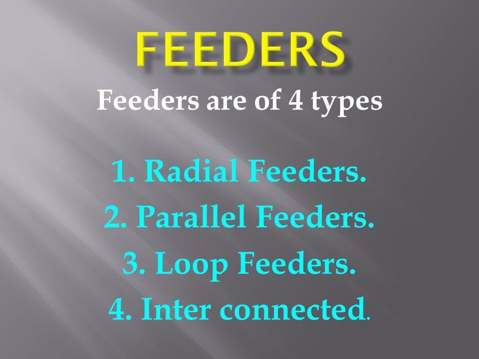 Feeders are of 4 types 1. Radial Feeders. 2. Parallel Feeders. 3. Loop Feeders. 4. Inter connected.